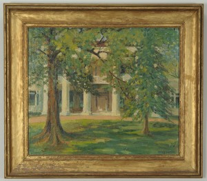 Lot 33: Mayna Treanor Avent oil on board, The Hermitage