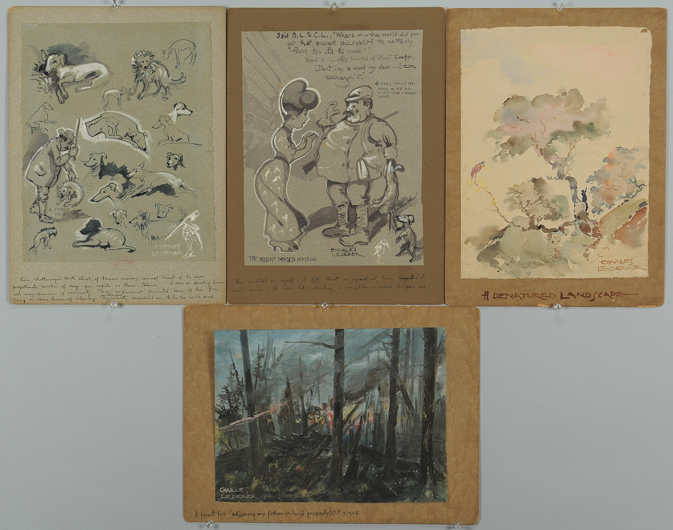 Lot 340: Lot of 4 Charles Lederer Art Items