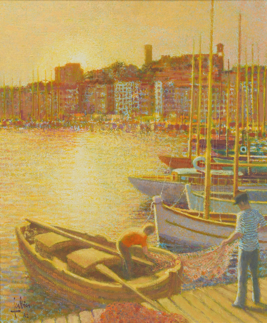 Lot 344: Louis Fabien oil on canvas, Port a Cannes