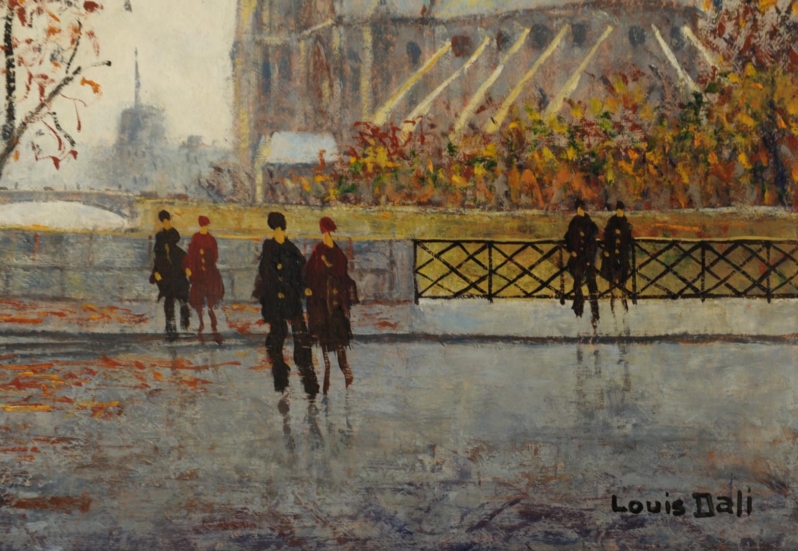 Lot 345: Louis Dali oil on canvas, Notre Dame