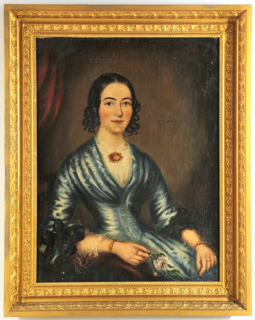 Lot 347: American Portrait of Young Lady, poss. Southern