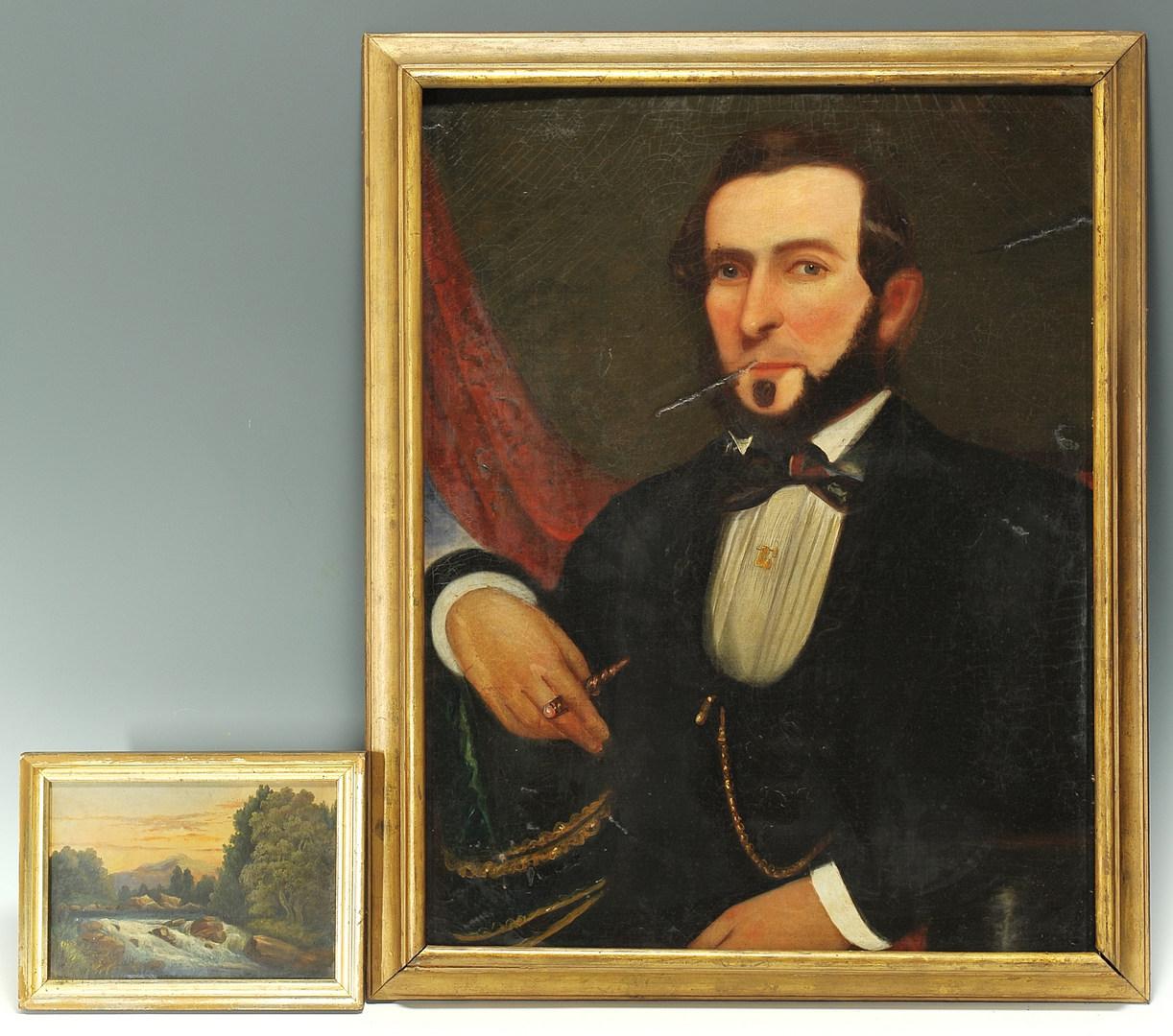 Lot 348: East TN portrait of gentleman and landscape oil