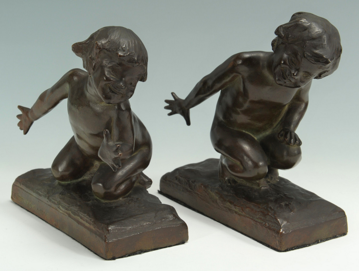 Lot 34: Edith B. Parsons, Bronze Bookends of Children