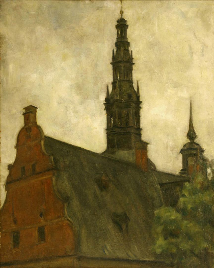 Lot 351: Attr. Svend Hammershoi, Frederiksborg Castle, Oil
