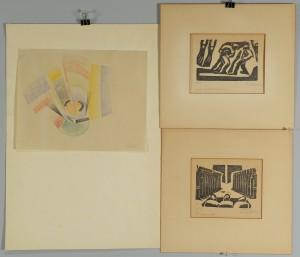 Lot 357: Hugo Gellert Abstract Pastel & 2 Prints
