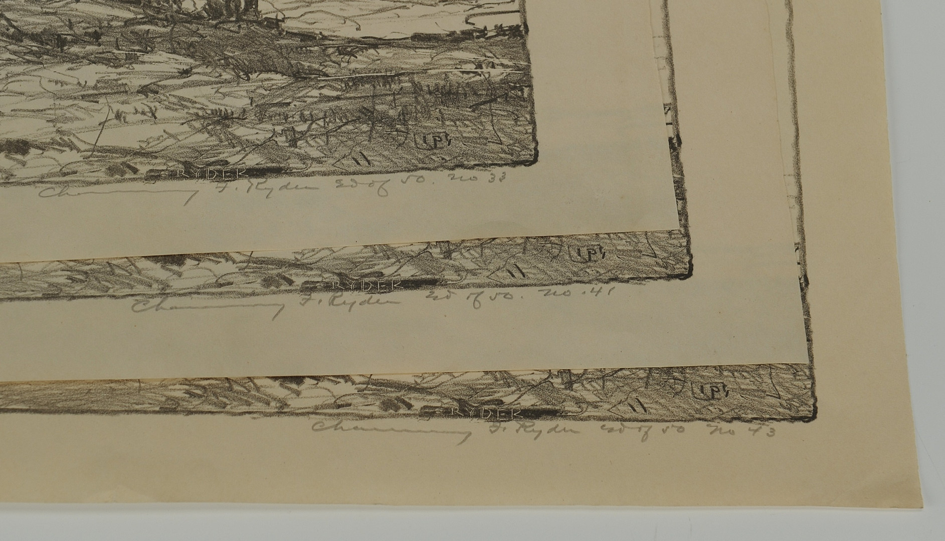 Lot 360: 3 Chauncey F. Ryder Stone Lithographs
