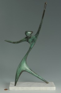 Lot 36: Victor Halvani Abstract bronze sculpture, David Wi