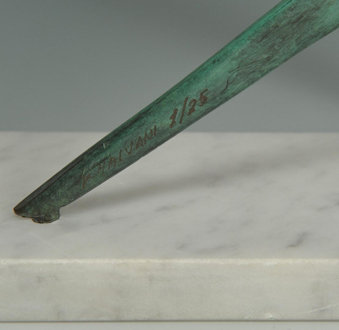 Lot 36: Victor Halvani Abstract bronze sculpture, David Wi
