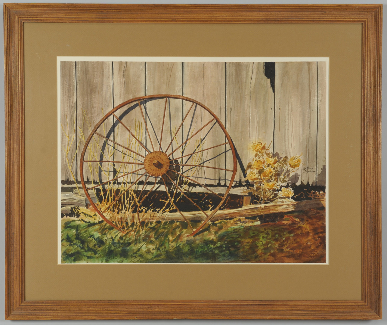 Lot 370: Outdoor Still Life Watercolor, Leathers Maddox