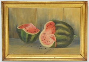 Lot 372: Folk Art Watermelon Oil on Canvas Still Life