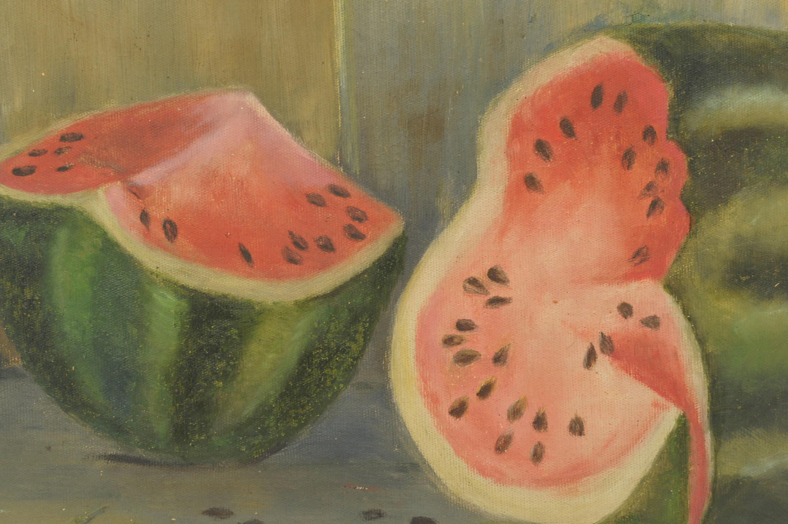 Lot 372: Folk Art Watermelon Oil on Canvas Still Life