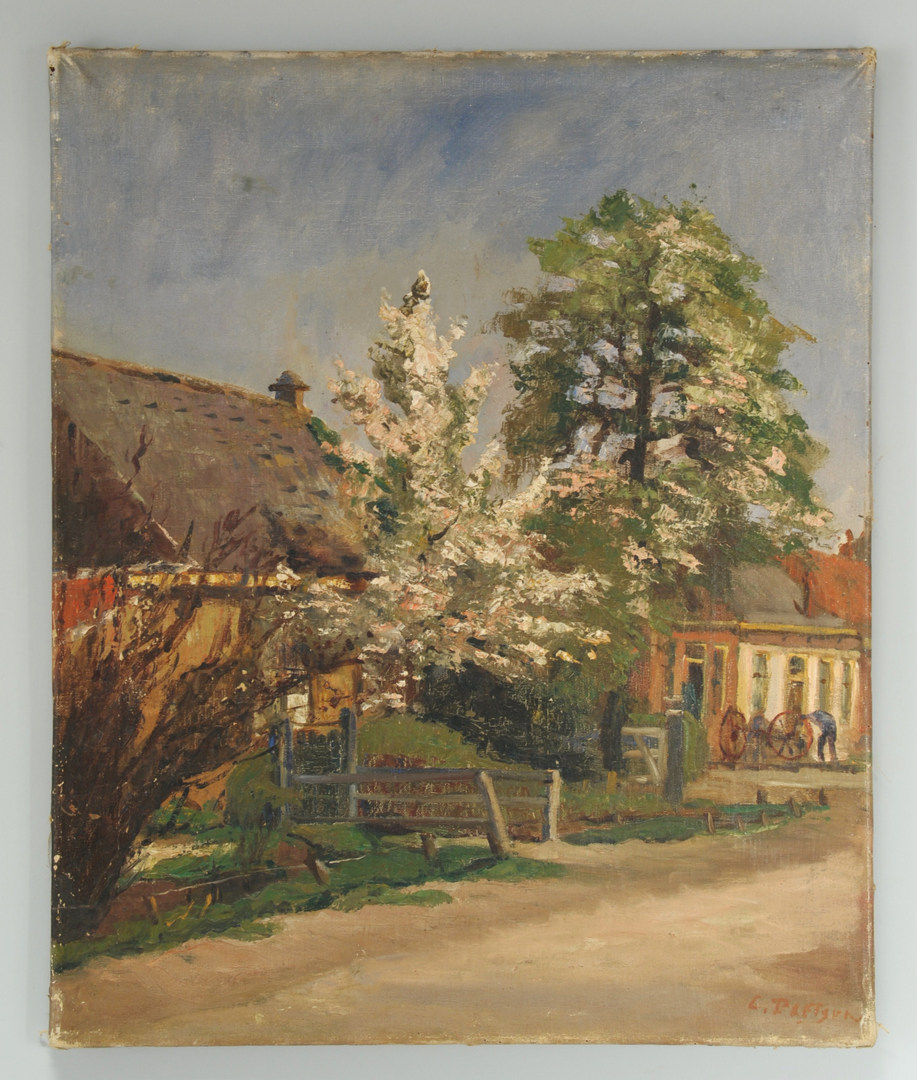 Lot 373: Landscape oil of a country street scene, possibly