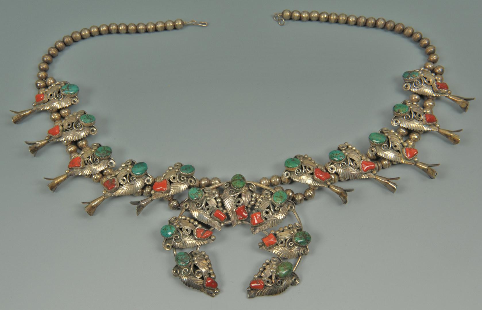 Lot 382: Large Navajo Sterling Squash Blossom Necklace