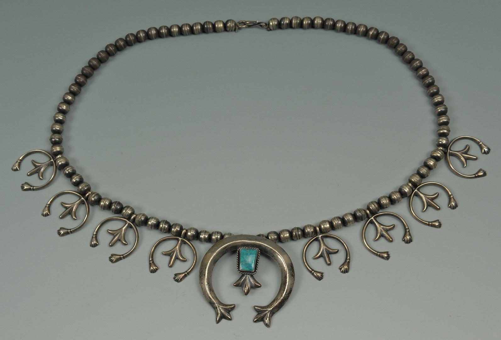 Lot 383: 2 Navajo Sterling & Turquoise Squash Blossom Neckl