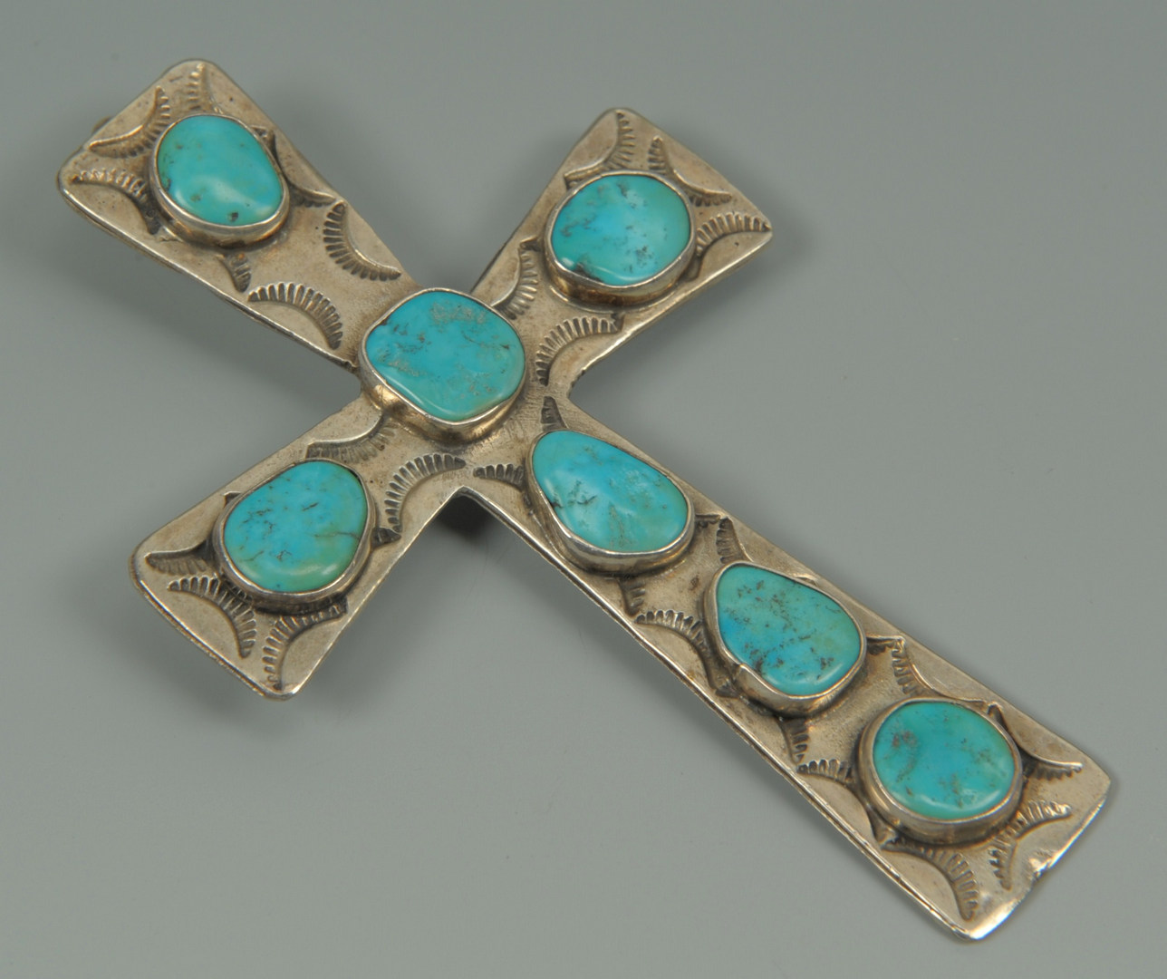 Lot 384: Large Navajo Sterling Necklace & Cross