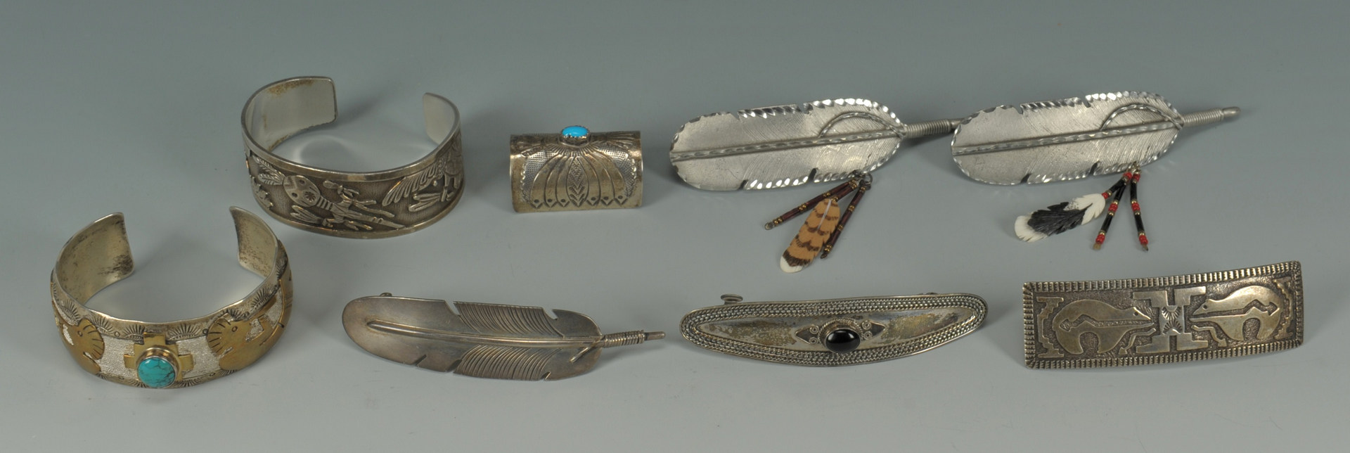 Lot 385: Native American Silver Bracelets & Hair Clips, 8 p