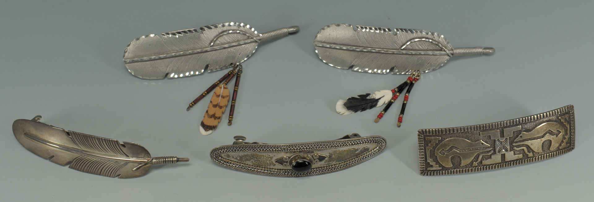 Lot 385: Native American Silver Bracelets & Hair Clips, 8 p