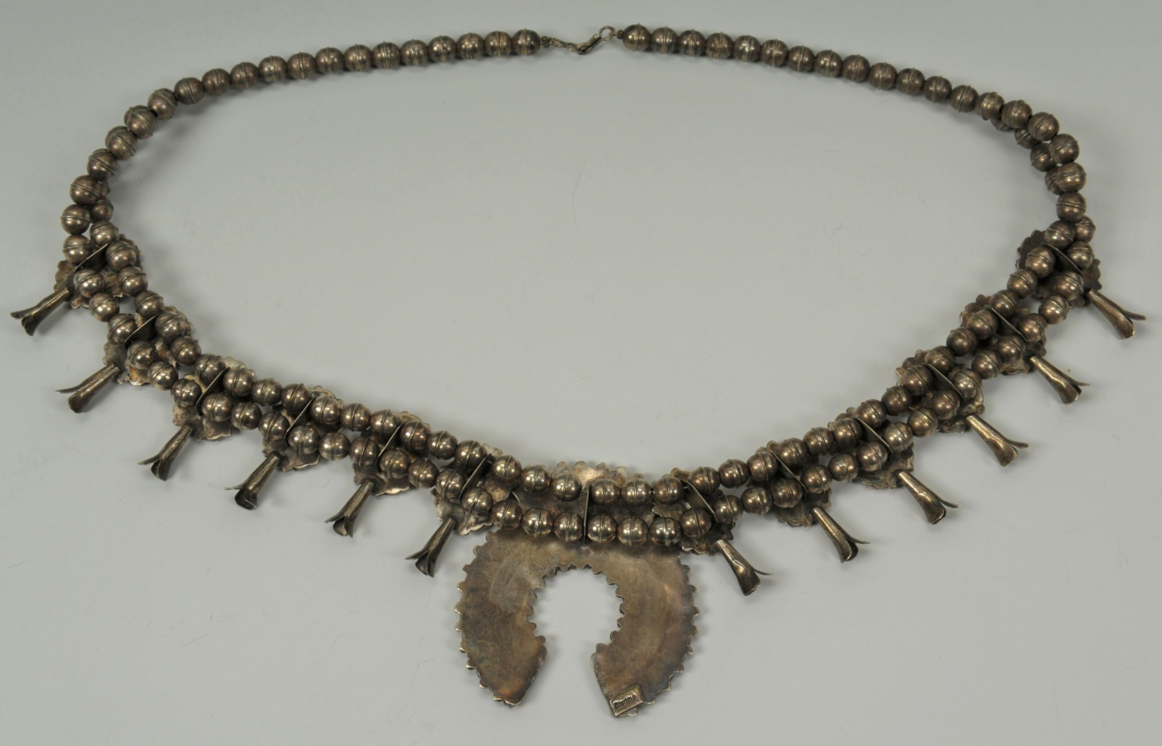 Lot 388: Navajo Sterling Squash Blossom Necklace w/ Coral