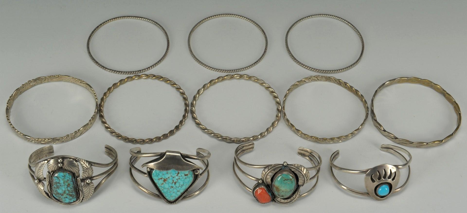 Lot 389: 12 Native American Silver Bracelets