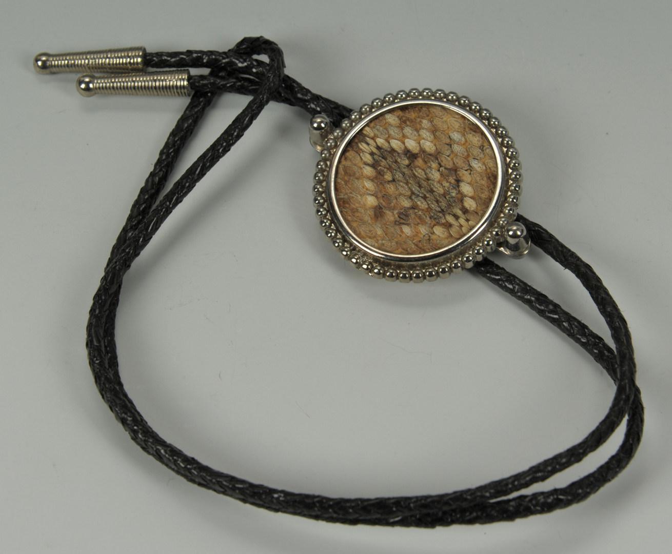 Lot 390: 4 Native American Bolo Ties & Concho Bracelet