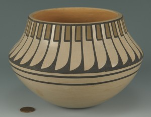 Lot 391: San Ildefonso polychrome jar, Blue Corn