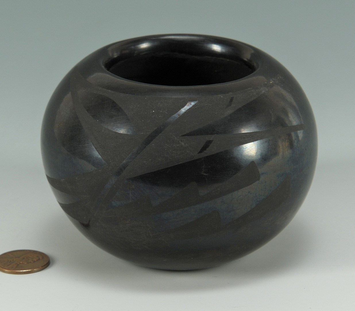 Lot 395: San Ildefonso blackware bowl, Blue Corn