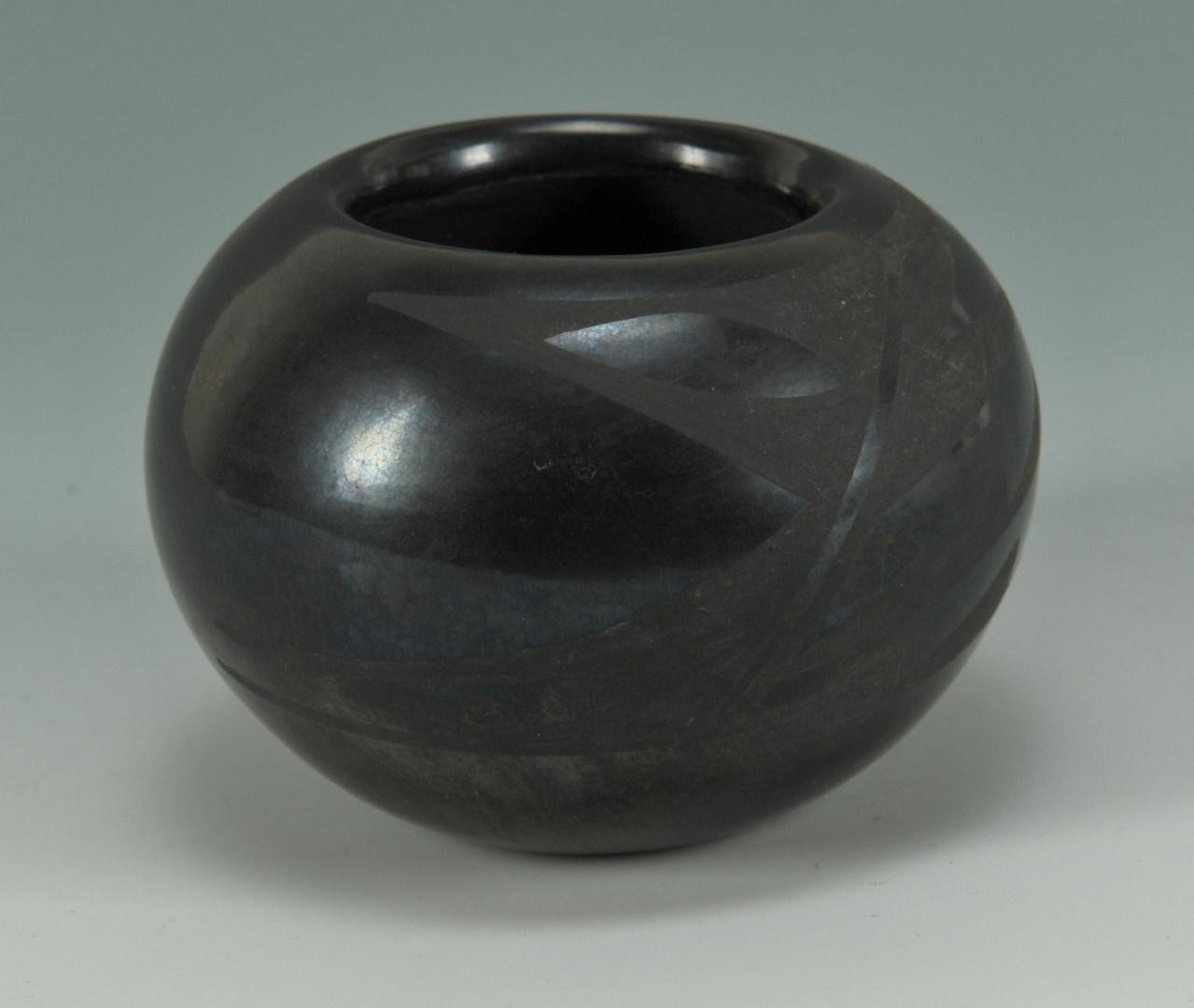 Lot 395: San Ildefonso blackware bowl, Blue Corn
