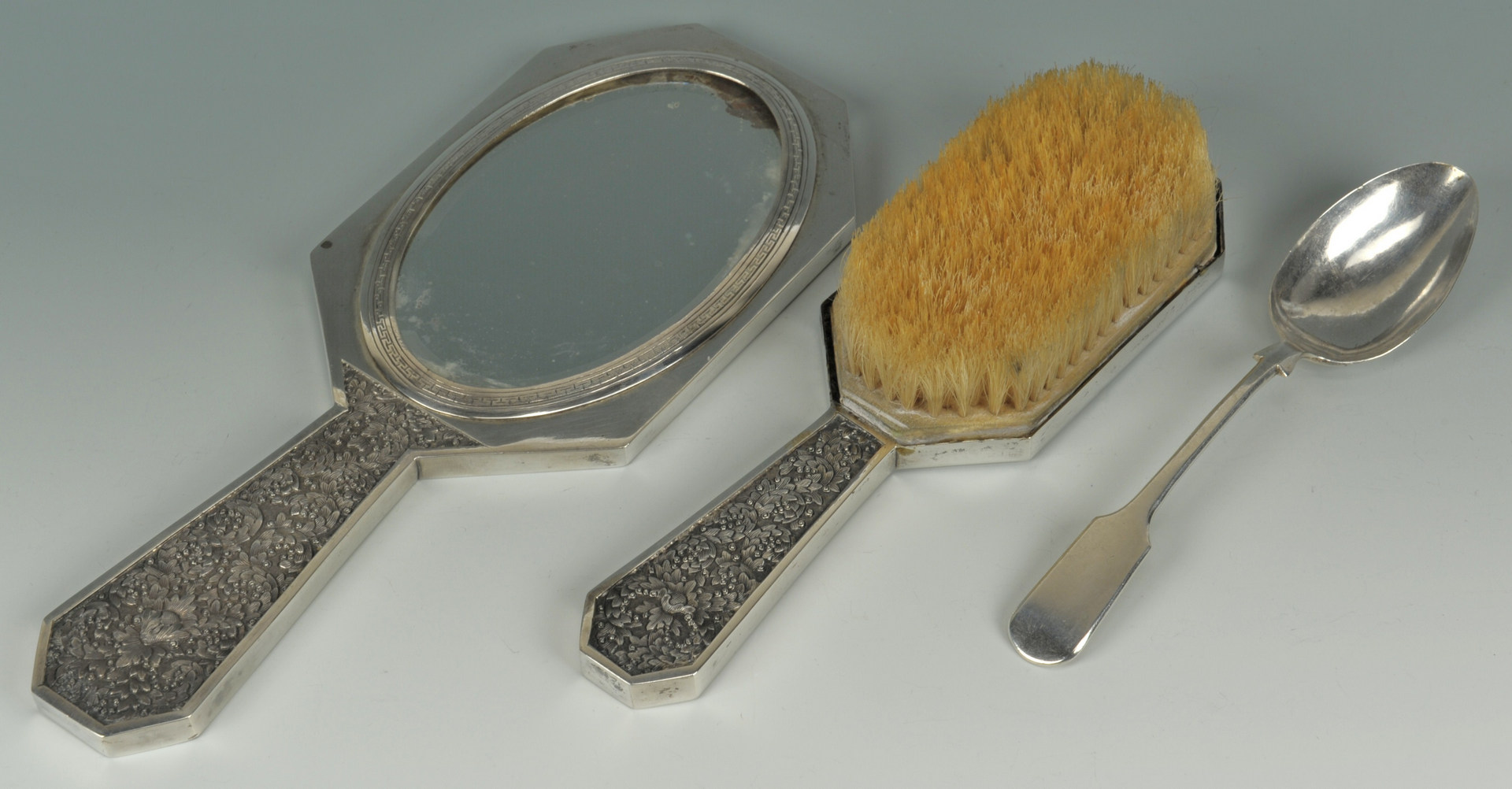 Lot 3: Chinese Export Silver spoon plus hairbrush & mirro