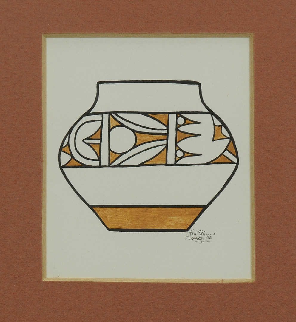 Lot 402: San Ildefonso Watercolor & Pendant, He Shi Flower
