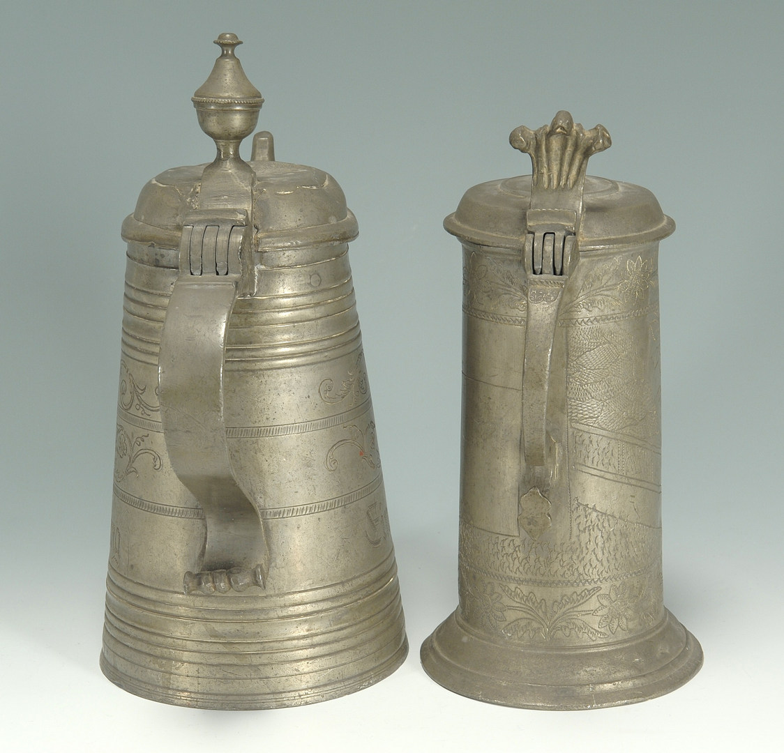 Lot 409: 2 Pewter flagons, 1 dated 1765 with wrigglework de