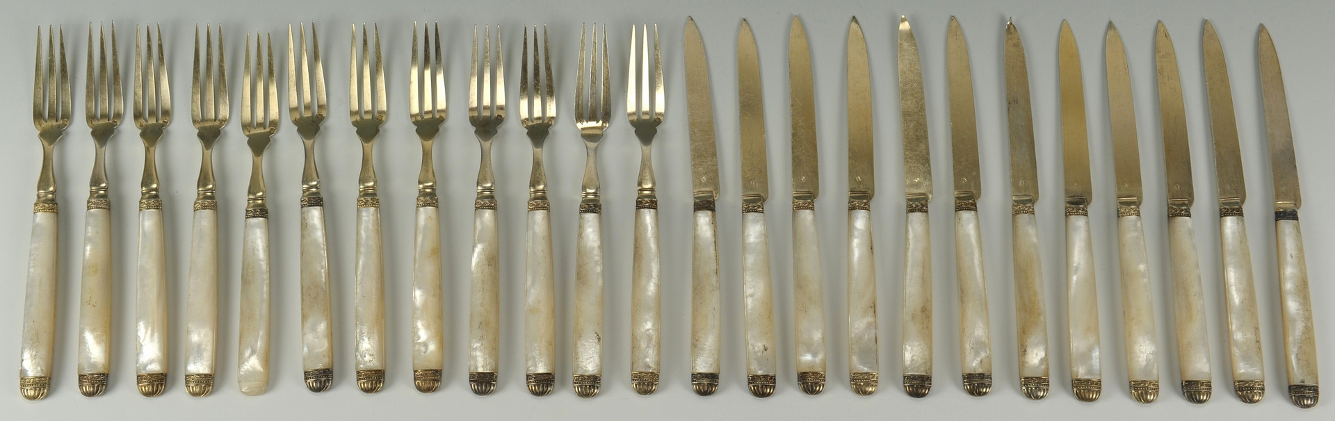 Lot 414: 24 Touron Pearl Handle French Sterling Forks and K