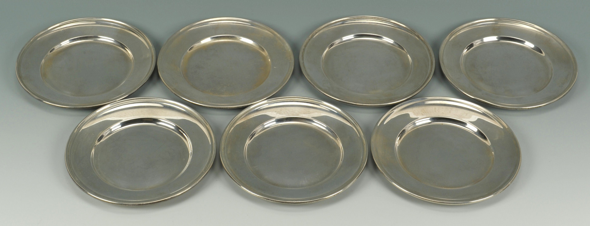 Lot 421 7 Gorham Sterling Silver Bread Plates