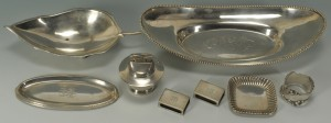 Lot 422: Group of silver hollowware, 9 pcs