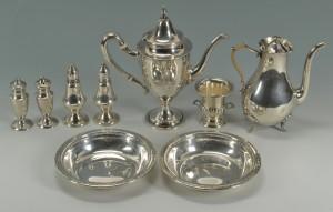 Lot 428: 7 items assorted silver hollowware inc. teapots