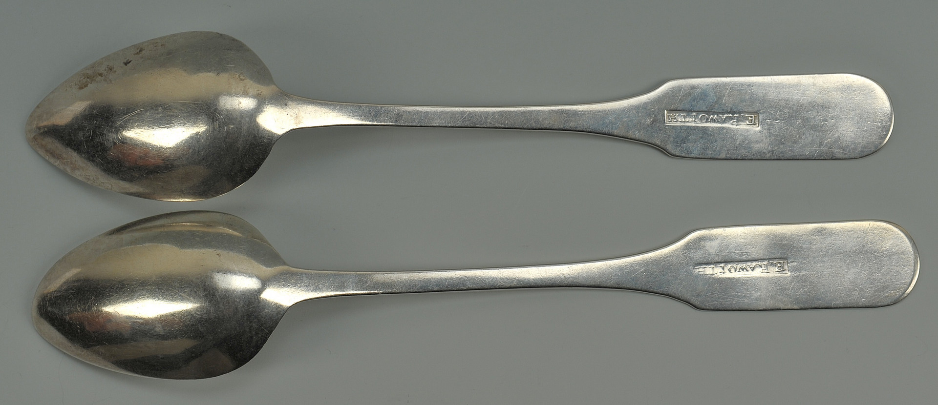 Lot 42: Two Nashville coin silver spoons, E. Raworth