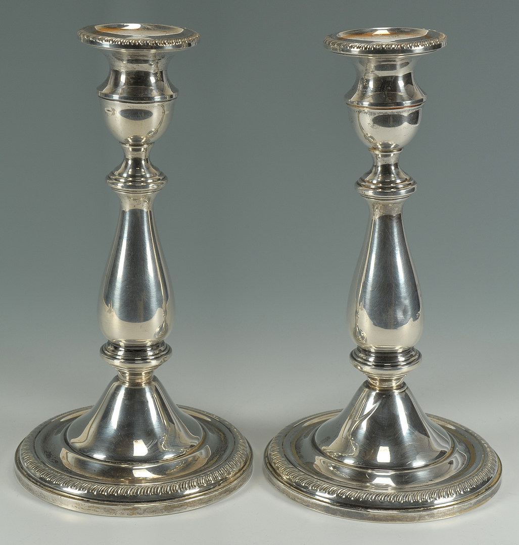 Lot 433: Pair 950 Silver Candelabras & 2 sterling candlesti