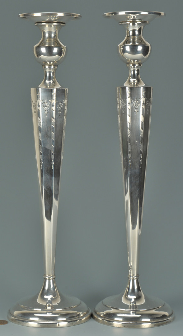 """Lot 434: Pair 16"""" tall sterling silver candlesticks"""