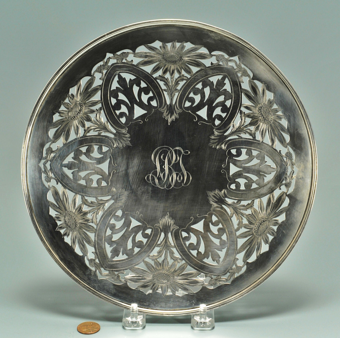 Lot 436: Gorham sterling silver footed tray