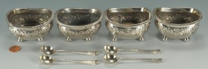 Lot 438: Four Victorian sterling silver salts and spoons