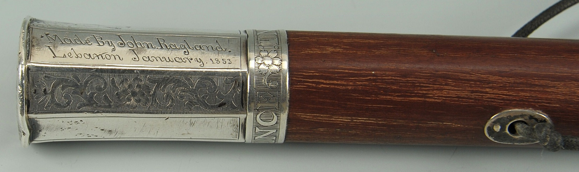 Lot 43: Tennessee Coin Silver handled Walking Stick