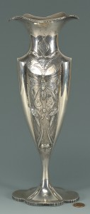 "Lot 440: Art Nouveau Sterling Silver Vase, 11-1/2"" H"