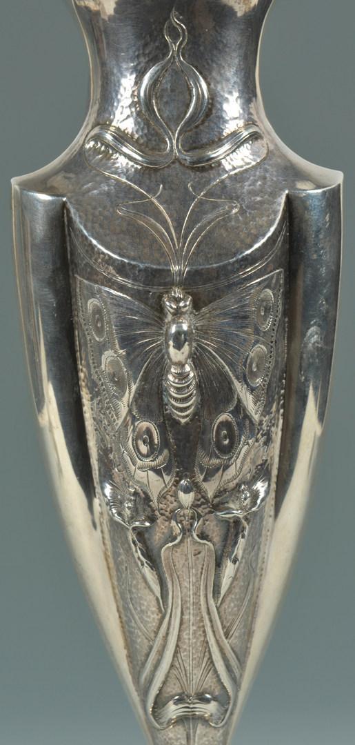 """Lot 440: Art Nouveau Sterling Silver Vase, 11-1/2"""" H"""