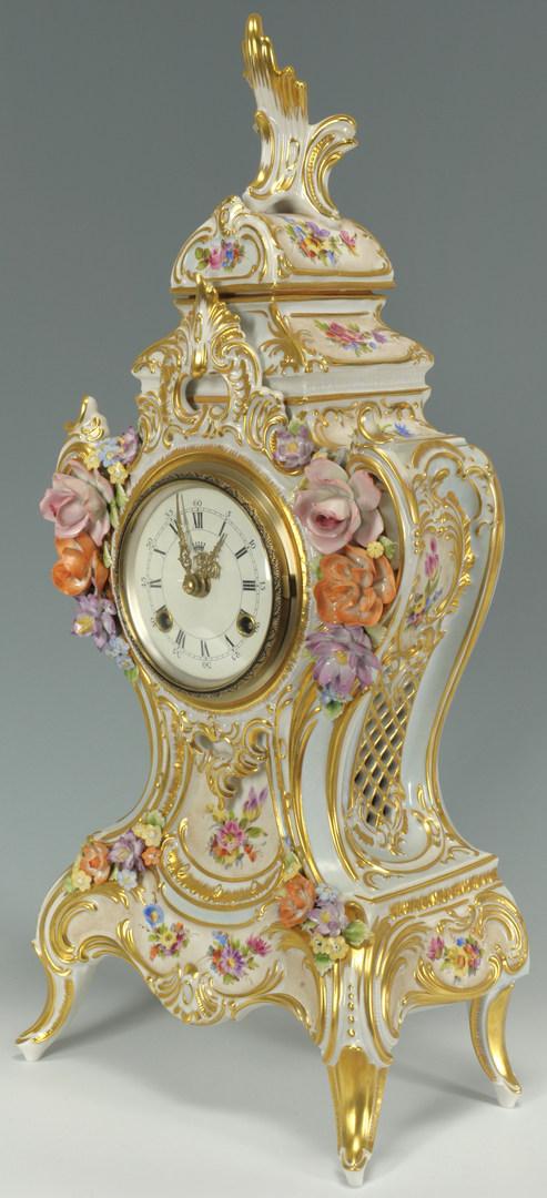 Lot 443: Dresden Hand Painted Porcelain Clock