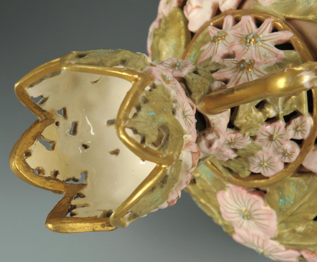 Lot 447: Pr. Rudolstadt Porcelain Vases, pierced floral des
