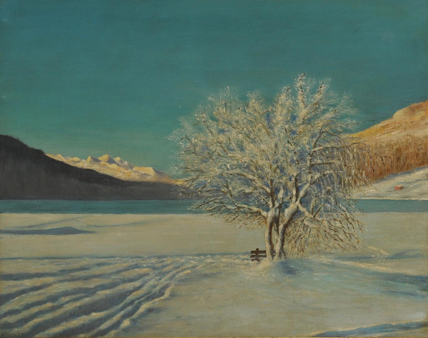 Lot 449: Oil on Board Winter Landscape