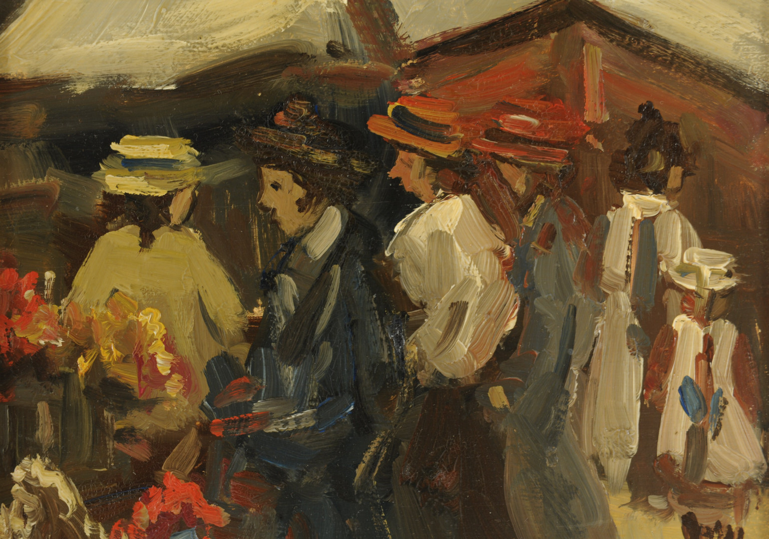 Lot 452: Impressionist oil painting of a street market