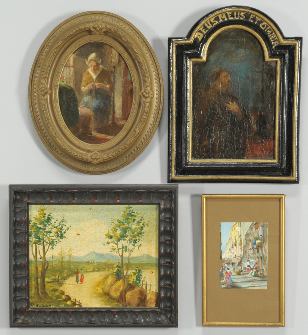 Lot 456: 4 European Paintings of various subjects