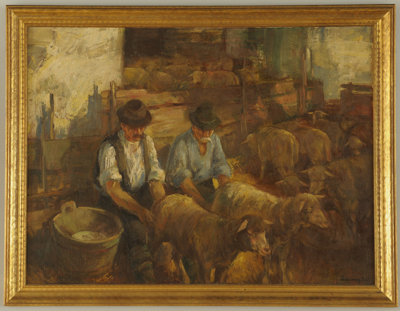 Lot 457: European Oil on Board depicting Sheep Milkers