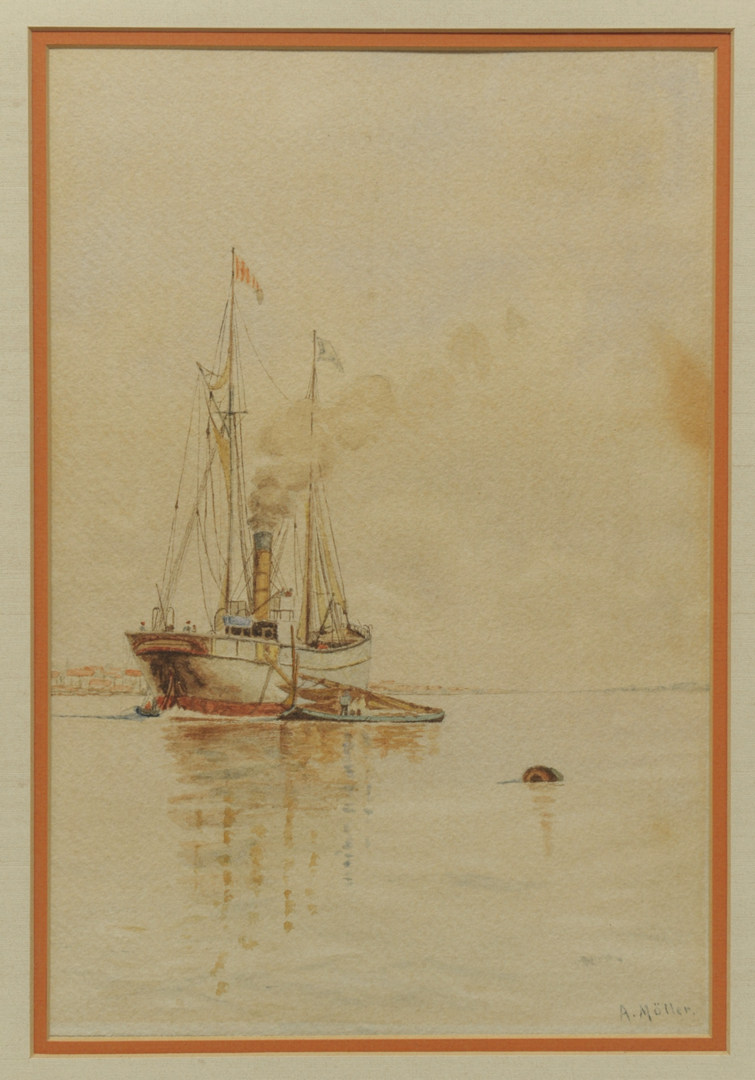 Lot 458: European school Seascape Watercolor, A. Moller
