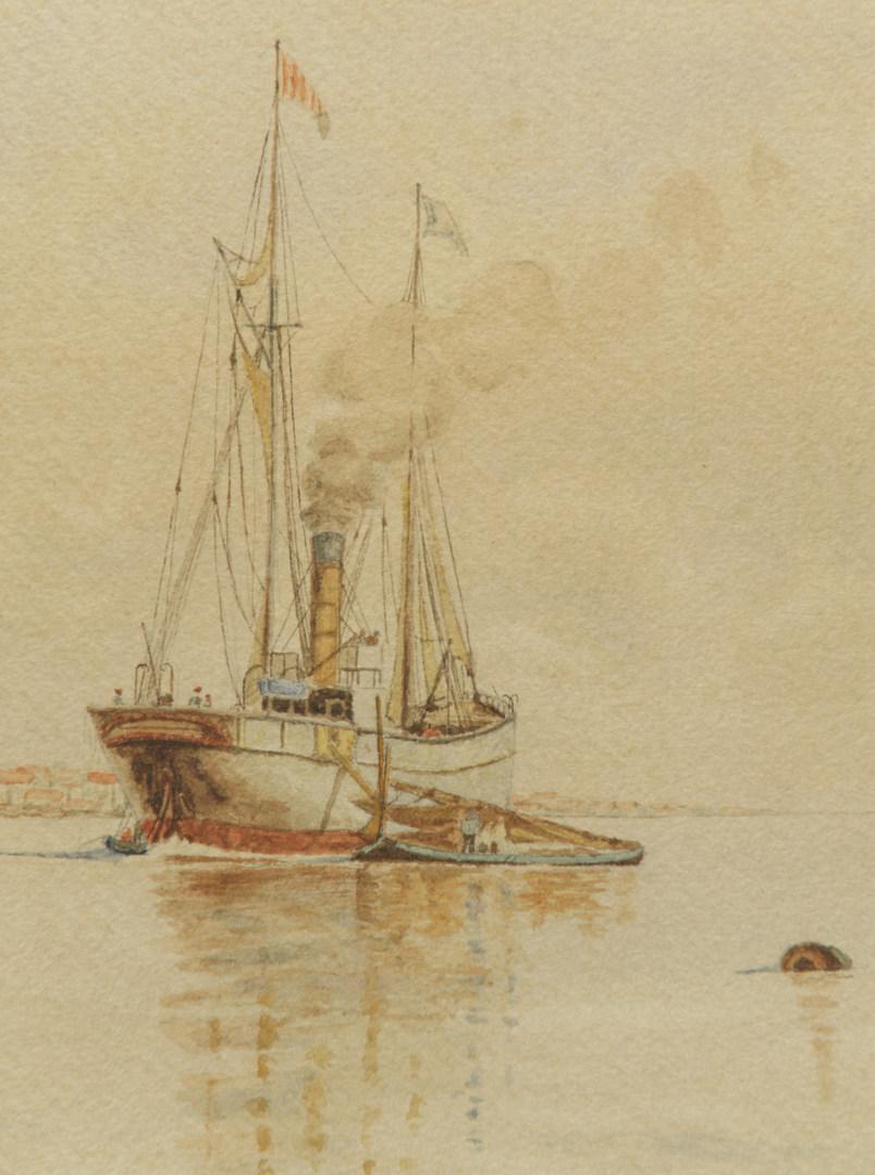 Lot 458: European school Seascape Watercolor, A. Moller